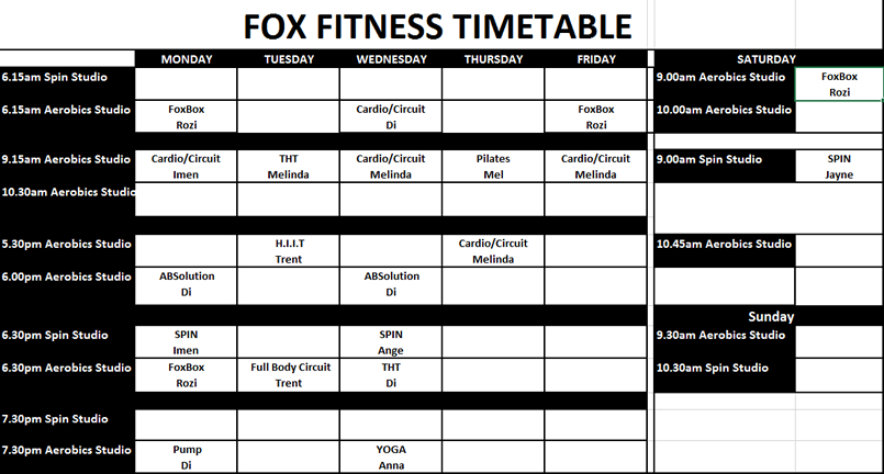 Gym Timetable Fox Fitness